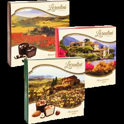 Конфеты Lorentini, шоколадный; ореховый; малиновый мусс