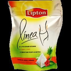 Чай Lipton Linea, ананас и гибискус, зеленый, в 2 раза больше кахетинов