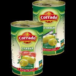 Оливки, маслины, анчоус; креветки; без косточки, Corrado