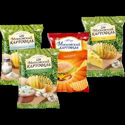 Чипсы Московский картофель, соль; сыр; лук и сметана; чизбургер