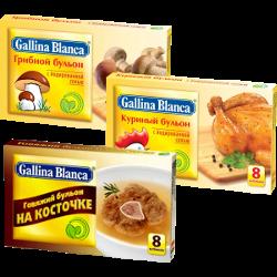 Бульон Gallina Blanca, курица; говядина; грибной