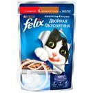 """Корм """"Felix"""" Аппетитные Кусочки Двойная Вкуснятина с говядиной и домашней птицей в желе для взрослых кошек 85г"""