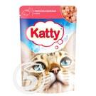 """Корм """"Katty"""" для кошек с лососем и форелью в соусе 85г"""